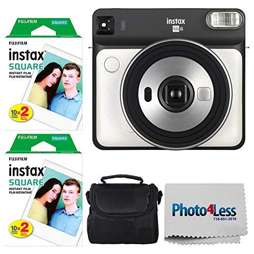 Fujifilm instax Square SQ6 Instant Film Camera (Pearl White) + Fujifilm instax Square Instant Film (40 Exposures) + Small Digital Camera/Video Case (Black) + Photo4Less Camera and Lens Cleaning - Pearl Camera Digital