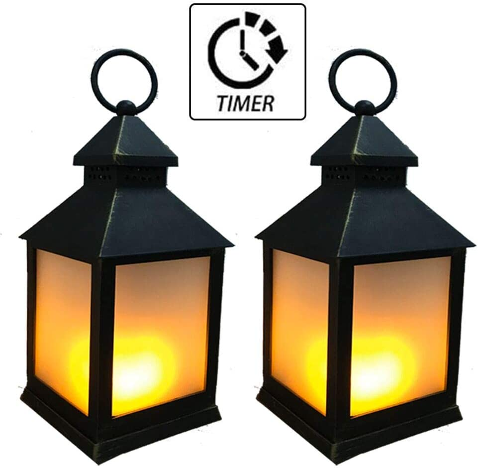 SHYMERY Vintage Style Decorative Lantern with Timer Flickering Flame,Outdoor Hanging Lantern,Decorative Patio//Table Top Lighting Set of 2