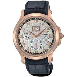 Seiko Men's SNP050 Leather Synthetic Analog with White Dial Watch