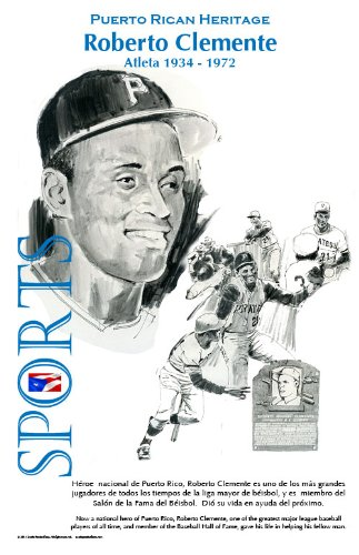 Puerto Rican Heritage Poster, Roberto Clemente, Athlete