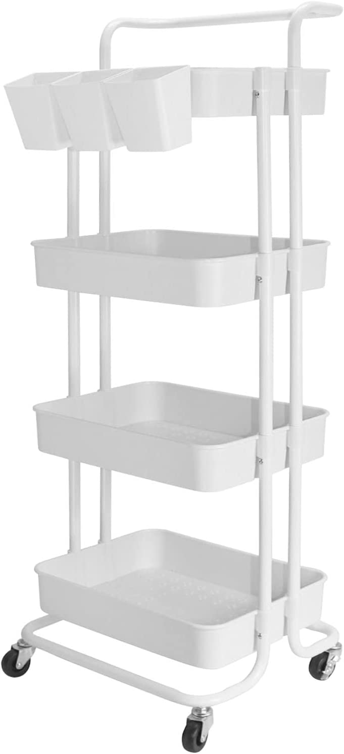 Asunflower 4 Tier Rolling Cart Storage Cart with Wheels and Hanging Cups Metal Utility Organizer and Storage Cart for Home,Office, Kitchen,Bedroom in White