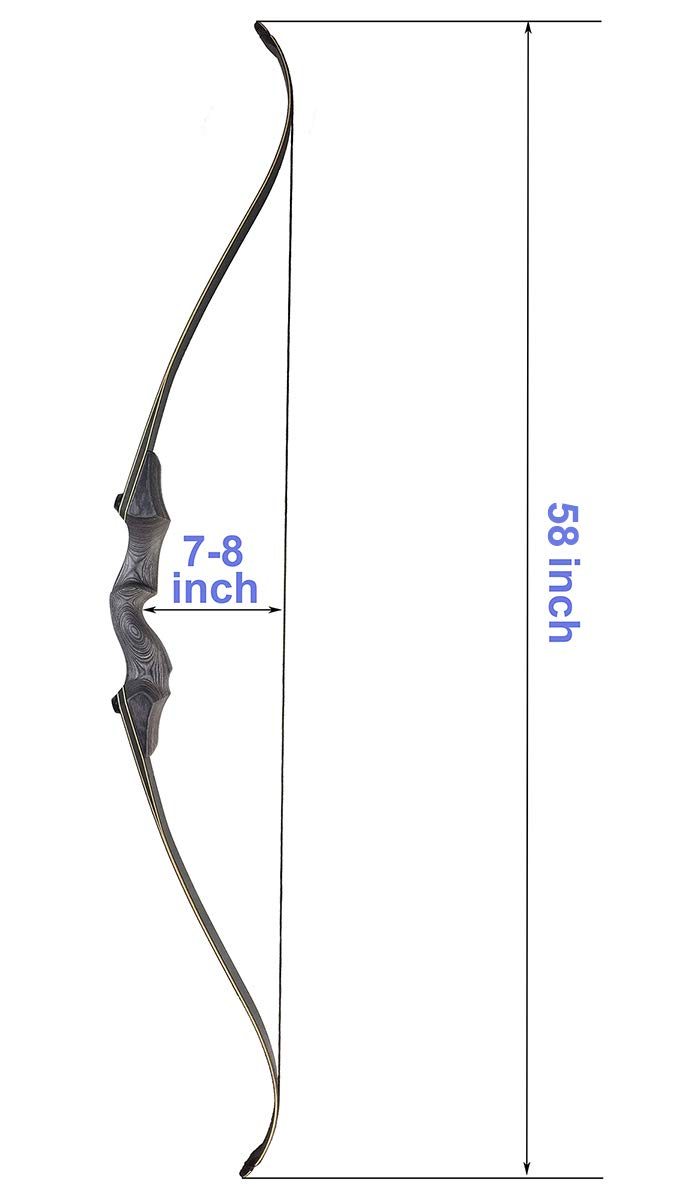 CPTARCH 60 Archery Bow Takedown Recurve Bow Wooden Right Handed Riser Bow with Arrow Rest and Stringer for Hunting Target Shooting Archer 30-55lbs for Beginners and Advanced Shooter