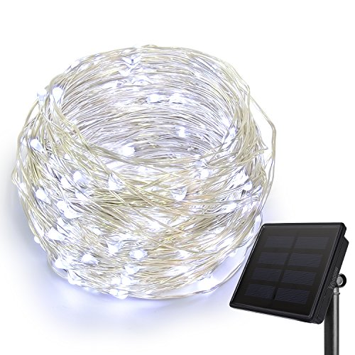 (HEEPOW Outdoor String Lights, 72ft Flexible Copper Wire Lights Auto On/Off 8 Modes Waterproof IP65 Solar String Lights with 200 leds for Garden, Patio, Windows, Trees, and Christmas Party (Cool White))