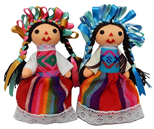 "Genoveva Perez Artesanias IER Typical Handmade Mexican Doll Maria, Assorted Colors (2-Pack) (#1 - 6"")"
