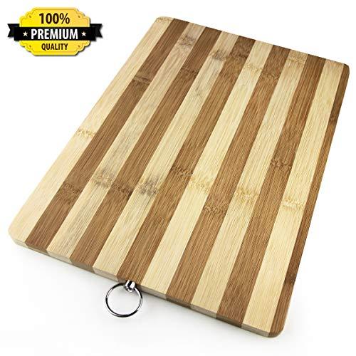 Striped Bamboo Cutting Board - Pizza Cutter Set (striped)