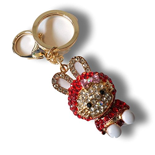 "Cats Dressed In Costumes (Unique & Custom 1 Single Medium Size ""Carabiner"" Circle Keychain Ring Made of Metal w/ Beautiful Rhinestoned Kitty Cat Dressed In A Bunny Costume Style Made of Metal {Gold, Red & White})"