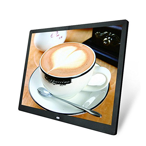 LAZODA 15 inch High Resolution Ultrathin Digital Photo Picture Frame HD Wide Screen With Wireless Remote Control Black