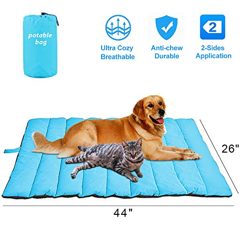 dibikou Indoor Outdoor Large Pet Bed Portable Pet Mat for Large Dogs Travel Dog Bed Comfortable Waterproof Dog Bed Water Resistant Dog Sleeping Bed Large Pet Sleeping Bag for Car 44