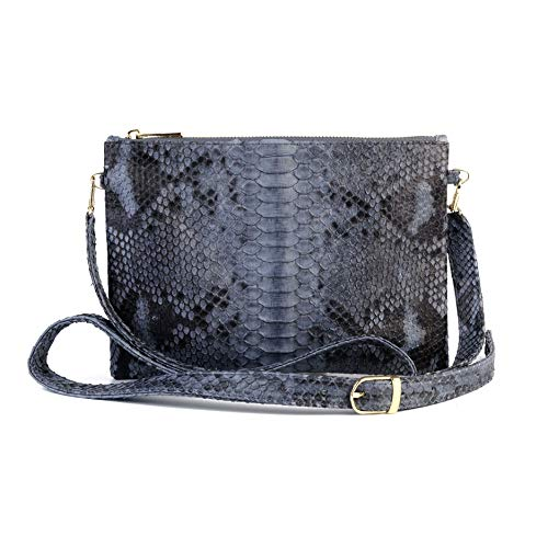 Python leather zipper crossbody bag | snakeskin bag | crossbody bag | python bag | snakeskin pouch | leather sling bag (Grey Motif)