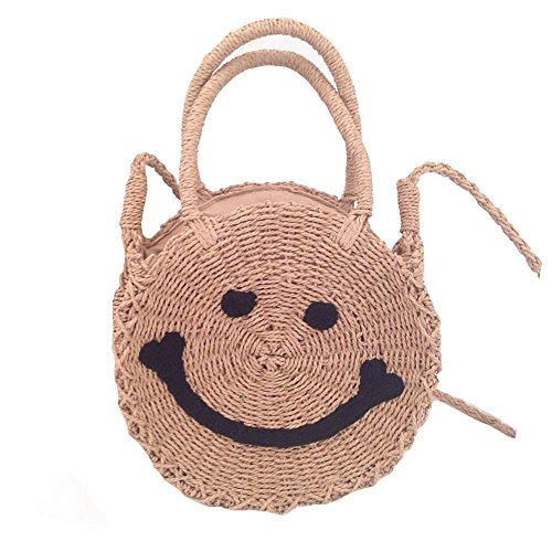Round Women Light Bag Handbags and Crossbody Shoulder Summer Straw Bag Smile Weave Brown Beach Purse qpBYWn74