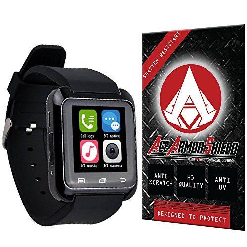 Ace Armor Shield Shatter Resistant Screen Protector for the 5IVE U80 Bluetooth 4.0 Smart Wrist Wrap Watch / Military Grade / High Definition / Maximum Screen Coverage / Supreme Touch Sensitivity /Dry or Wet Easy Installation with free lifetime replacement warranty