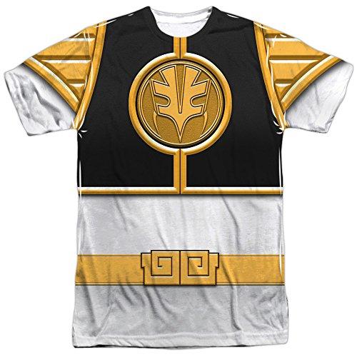 White Ranger Costume T-shirt (White Ranger Costume -- Power Rangers All-Over Front/Back T-Shirt, Large)