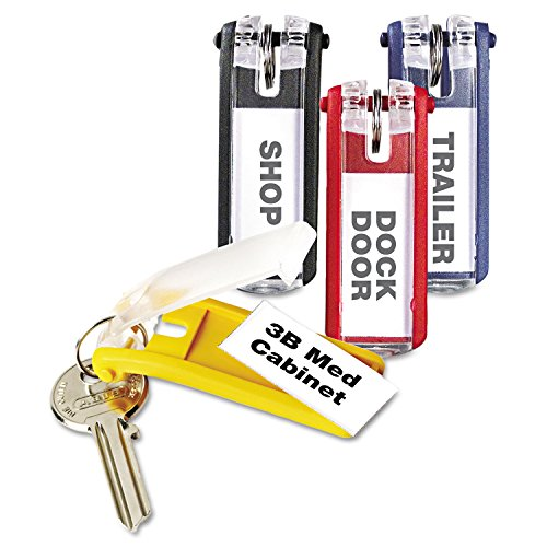 Key Tags for Locking Key Cabinets, Plastic, 1-1/8 x 2-3/4, Assorted, 24/Pack