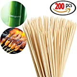 Originalidad 200 Pack, Bamboo Roasting Marshmallow Sticks - Premium Natural BBQ Bamboo Skewers for Shish Kabob, Grill, Appetizer, Fruit, Corn, Chocolate Fountain, Cocktail - Non Toxic, 16 Inch