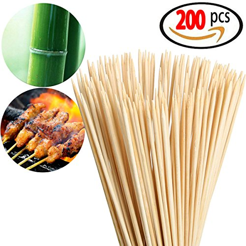 Originalidad 200 Pack, Bamboo Roasting Marshmallow Sticks - Premium Natural BBQ Bamboo Skewers for Shish Kabob, Grill, Appetizer, Fruit, Corn, Chocolate Fountain, Cocktail - Non Toxic, 16 Inch by Originalidad