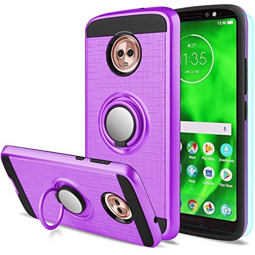 Moto G6 Case with HD Screen Protector,Anoke Motorola Moto G6 Cellphone 360 Degree Rotating Ring Holder Kickstand Full-body Protective Cases Cover for Moto G6 ZS Purple