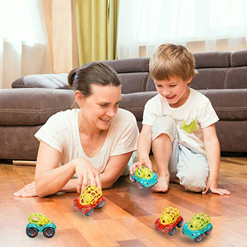 Invech Baby Toy Cars for 1 Year Old, 2 Pack Soft Oball Rattle Baby Toys 6-12 Months Boy Girl Infant Toys