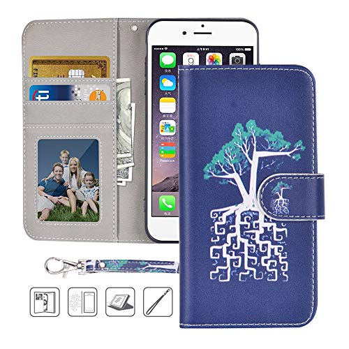iPhone 6S Wallet Case,iPhone 6 Wallet Case,MagicSky Premium PU Leather Flip Folio Case Cover with Wrist Strap,Card Slots,Cash Pocket,Kickstand for Apple iPhone 6S/iPhone 6 4.7 inch (Tree)