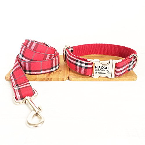 hipidog Personalized Dog Collar and Leash Set, Premium Customized Pet ID Collars- Special Design 24 Styles + 5 Sizes (Scottish Red)