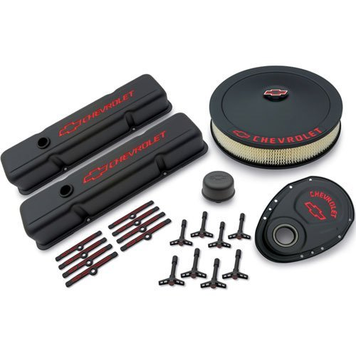 - Proform 141-758 Black Crinkle Engine Dress-Up Kit with Red Chevrolet/Bowtie Logo for Small Block Chevy