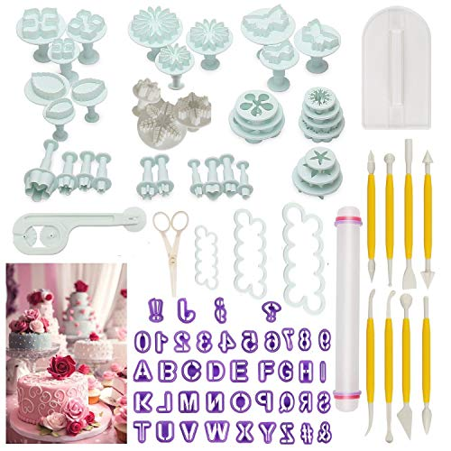 Cake Tools,90pcs Fondant Cake Mould Sugarcraft Alphabet Letters Cutters Cake Decorating Tools Cutters Icing Modelling Tool Kit Rolling Pin, Smoother, Embosser Mould Tools,Scissors,Rose Cookie Cutter
