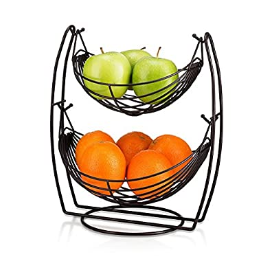 Saganizer 2 Tier Fruit Baskets Bronze fruit basket