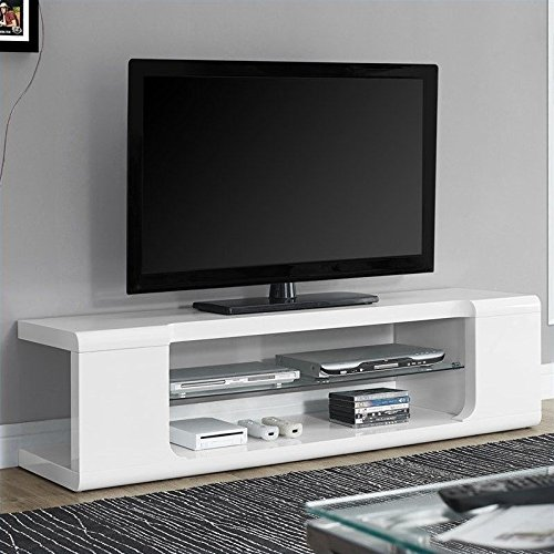Monarch Specialties High Glossy White TV Console with Tempered Glass, 60-Inch (Modern Tv Stand)