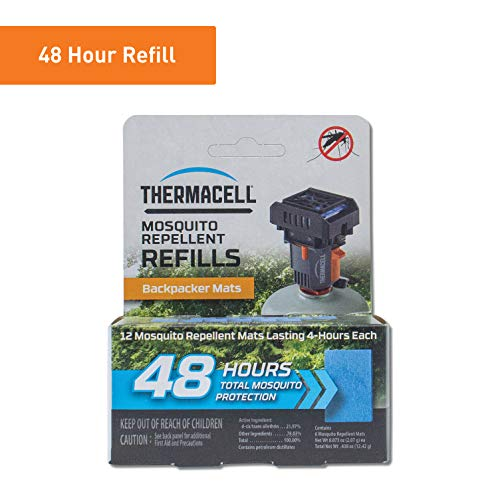 - Thermacell Backpacker Mosquito Repellent Mat-Only Refills, 48-Hour Pack; Contains 12 Repellent Mats, Each Lasting 4 Hours; Use with Convenient and Easy to Use Backpacker Mosquito Repeller; DEET-Free