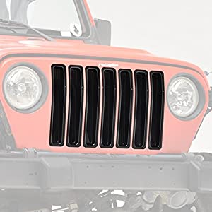 E-Autogrilles Jeep Wrangler TJ Glossy Black Grille Cover Inserts