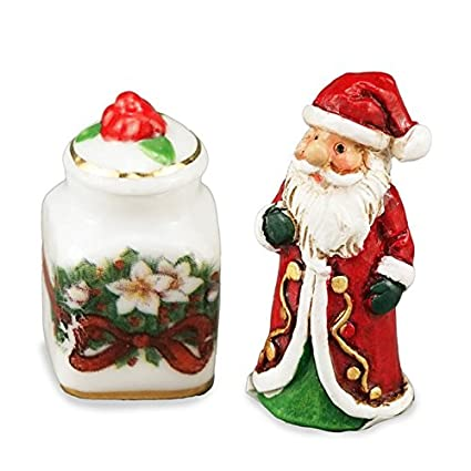 Dollhouse Opening Ceramic Christmas Gingerbread House Cookie Jar 1:12 Miniature