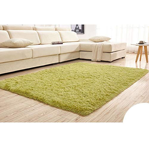 Solid Rectangular Area Rugs Soft Shag Living Room Children Bedroom Rug Anti-Slip Plush Carpets Home Decor Modern Indoor Outdoor Runners Nursery Grass Green 4' X 9'
