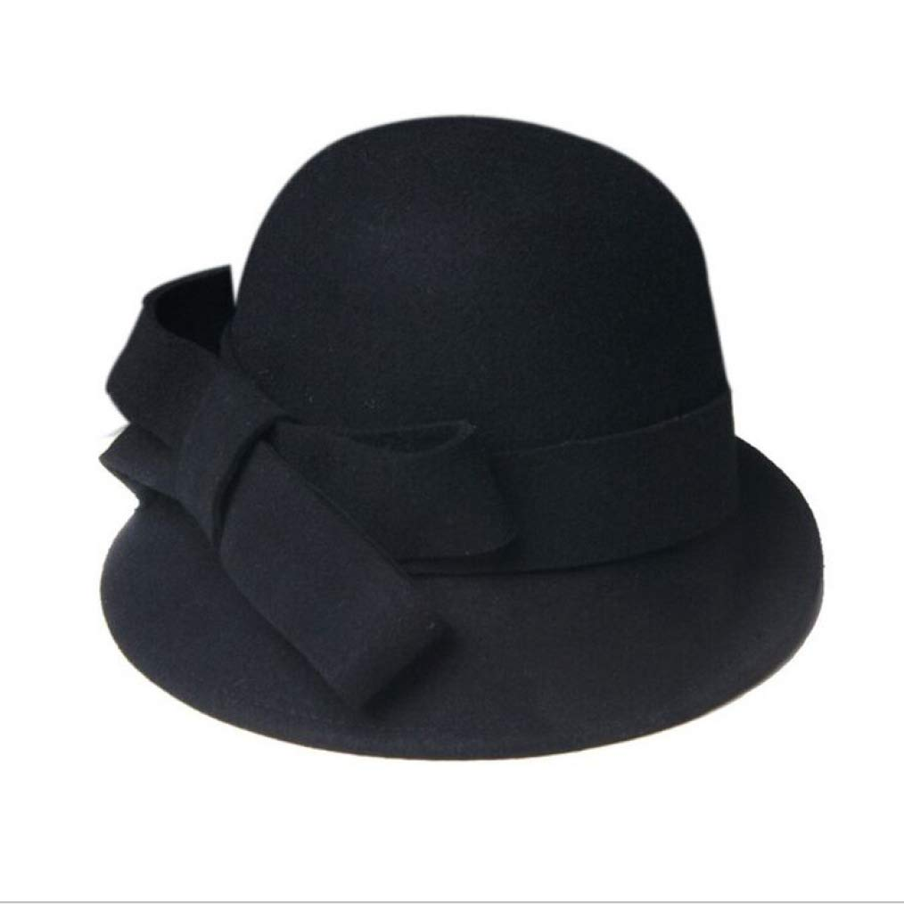 JHKSO Women Wool Formal Bucket Elegant Lady Winter Asymmetric Bowknot Blue Wool Hats Bucket Hat