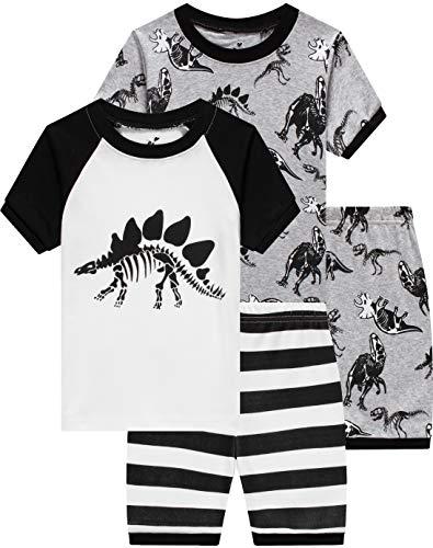 Boys Dinosaur Pajamas Children 4 Pieces Sleepwear Baby Clothes Summer Kids Short PJs Set 10 Years ()