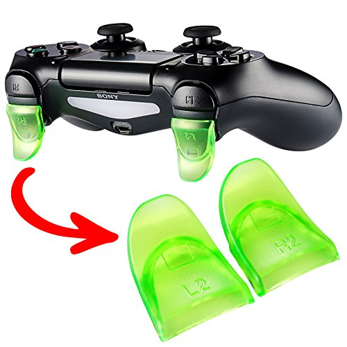 eXtremeRate 2 Pairs Green L2 R2 Buttons Trigger Extenders for PlayStation 4 PS4 JDM-030 Controller