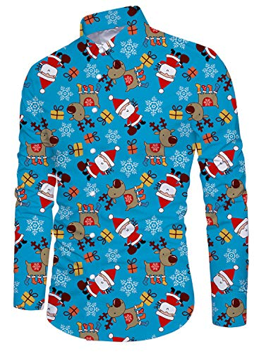 uideazone Men Button Down Dress Shirt Christmas Santa Claus Printed Slim Fit Long Sleeve Shirts -