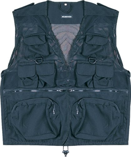 (HUMVEE HMV-VC-BK-3XL XX-Large Nylon Combat Vest with Safety Zipper, Black)