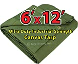 Ultra Duty 6'x12' Finished Size Industrial Strength Green Polyester Canvas Tarp with Brass Grommets Approx Every 2 Feet All Round