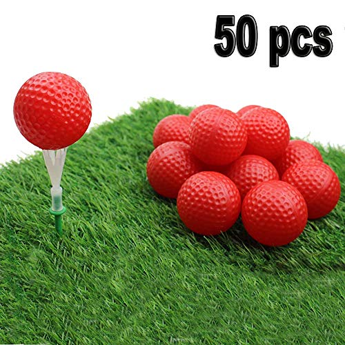 Kofull Golf Practice Ball, Hollow Golf Plastic Ball for Indoor Training -Pack of 50pcs (4 Colors Available) (Red) ...