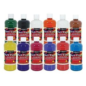 Sargent Art 17-3412 12 Bottle Set - 11 Different Colors 16 Oz Art-Time Washable Tempera Paint Assortment,Assorted
