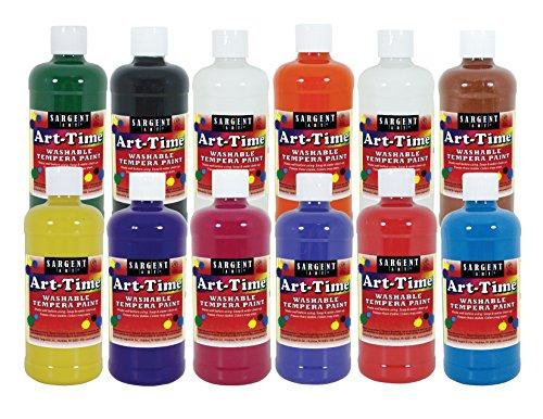 Sargent Art 12 17-3412 16 oz Art-Time Washable Tempera Paint Set, 16 Ounce, Assorted (Tempera Paint Assortment)