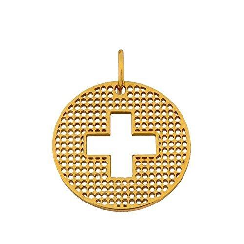 Pendentif médaille croix trouée 16mm - Or 18 carats