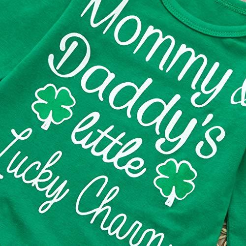 a8d903f6b Kirbyates Newborn Infant Baby Boy Girl Letter Printed Romper Pants Set St. Patrick's  Day Green