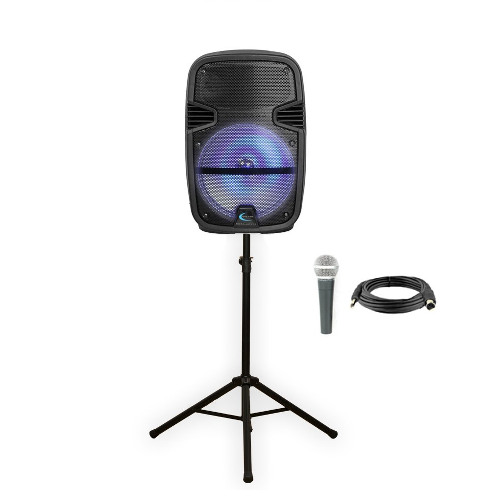 Technical Pro PB1400LED Bluetooth 12'' Powered Speaker with Rechargeable Battery LED Light Mic and Stand
