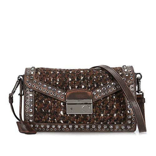 Prada Wool and Leather Embellished Crossbody - Cocoa