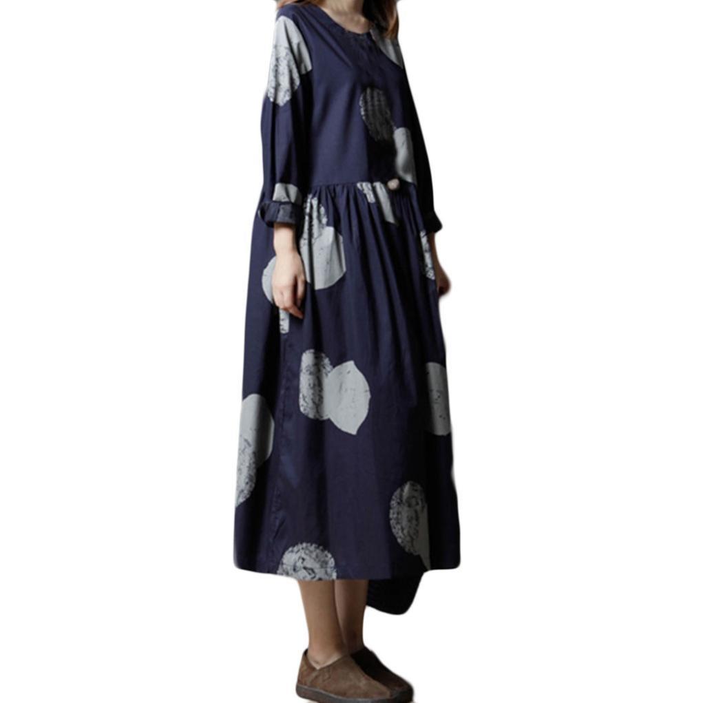 POHOK Dresses,Women Plus Size Cotton and Linen Long Sleeves Loose Literature Long Dress