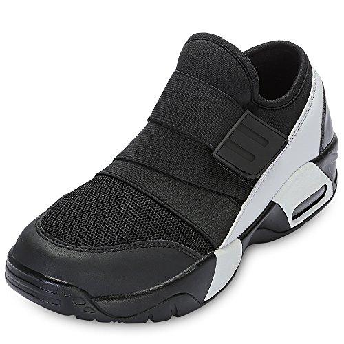 Jayden Peep Wedge Toe - KCatsy Casual Round Toe Mesh Spliced Hook and Loop Sneakers Men Running Shoes Black