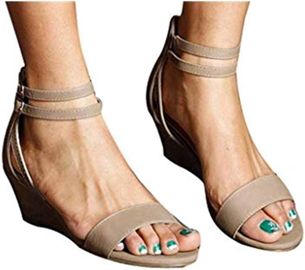 Cewtolkar Sandals for Women Thick Heel Sandals Summer Open Toe Casual Square Heels Shoes Ladies Sandals