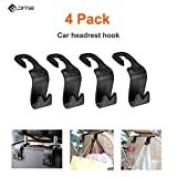 Car Headrest Hook, Universal Vehicle Back Seat Hook Headrest Organizer Hanger Storage Hook for Groceries, Handbag, Umbrella, Kid's toy and more (4 Pack)