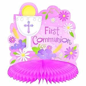 Amazon Com First Communion Pink Honeycomb Table Centerpiece