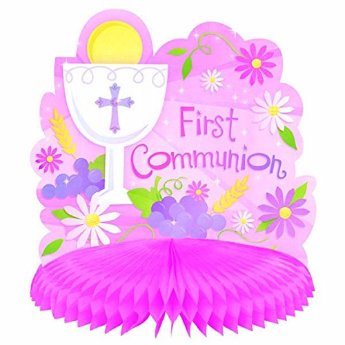 First Communion Pink Honeycomb Table Centerpiece Religious Party Decoration, 10